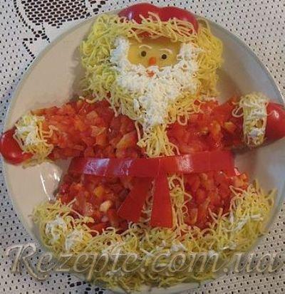 Салат с крабовым мясом Дед мороз