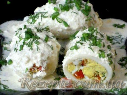 Фаршированные кальмары с сыром и перцем болгарским