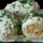 Фаршированные кальмары с сыром и креветками