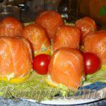 Горки из семги с сырной начинкой