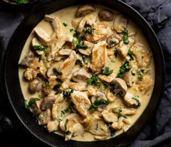 Курица с грибами и овощами