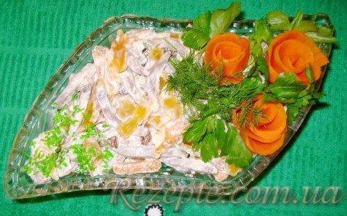 Салат с языком и мандаринами (оазис)