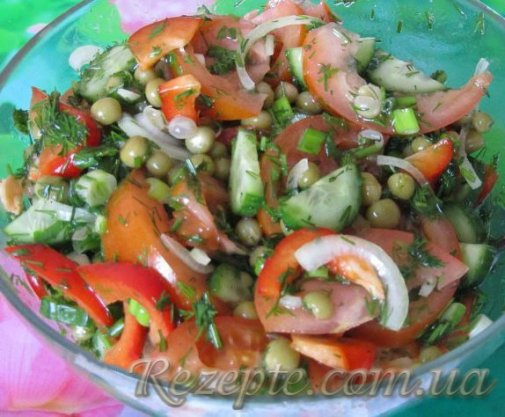 Овощной салат с горошком