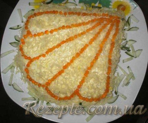 Салат с кальмаром Ракушка
