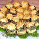 Эклеры с печенью и грибами