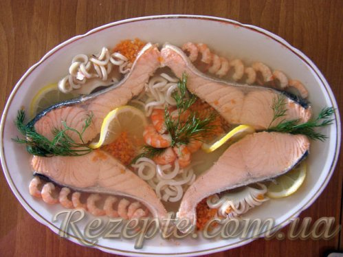 Заливное из сёмги с морепродуктами