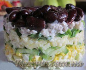 Салат овощной с мясом