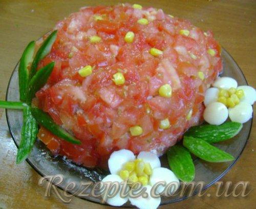 Салат с ветчиной клубничка