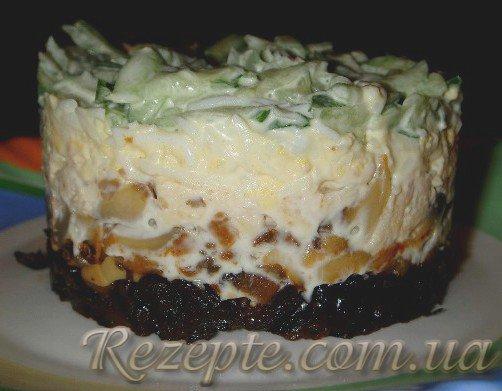 Салат слоеный с черносливом и курицей