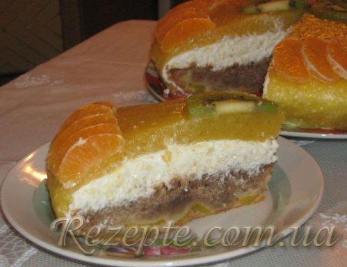 Торт творожно-персиковый