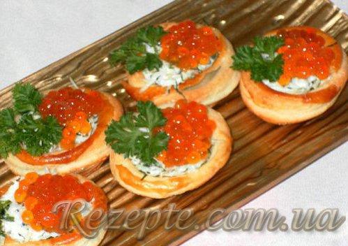Закуска с сыром и красной икрой