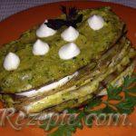 Язычки из баклажан в остром зеленом соусе