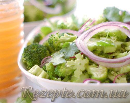 Салат из лука с капустой брокколи