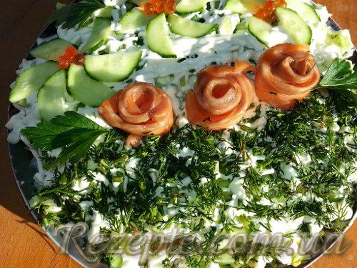 Салат с красной рыбой розовый букет