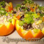 Салат с ветчиной в апельсинах